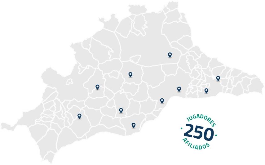 Mapa de la provincia de Málaga donde se ven múltiples ubicaciones de campos de golf